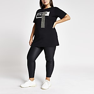 "Plus - Verziertes Jumbo-T-Shirt ""Couture"" in Schwarz"