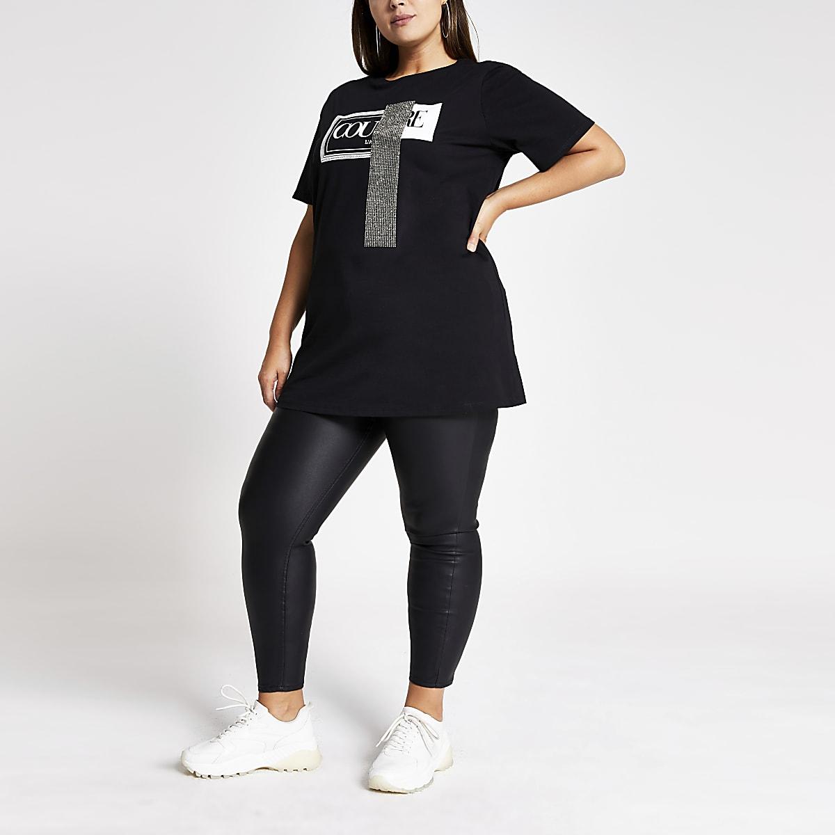 Plus black Couture embellished jumbo T-shirt
