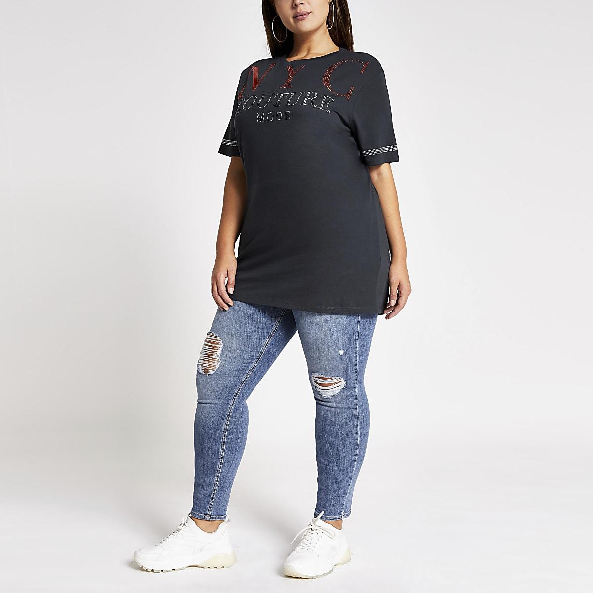 Plus black 'NYC' embellished jumbo T-shirt