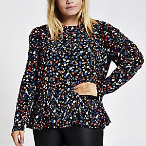 RI Plus - Zwarte blouse met bloemenprint en pofmouwen