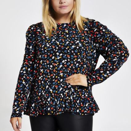 Plus black floral print puff sleeve blouse