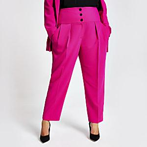 Plus - Pantalon carotte rose avec taille haute corsetée