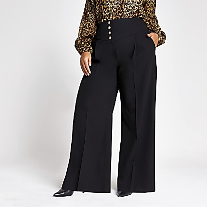 Plus black corset waist wide legs trousers
