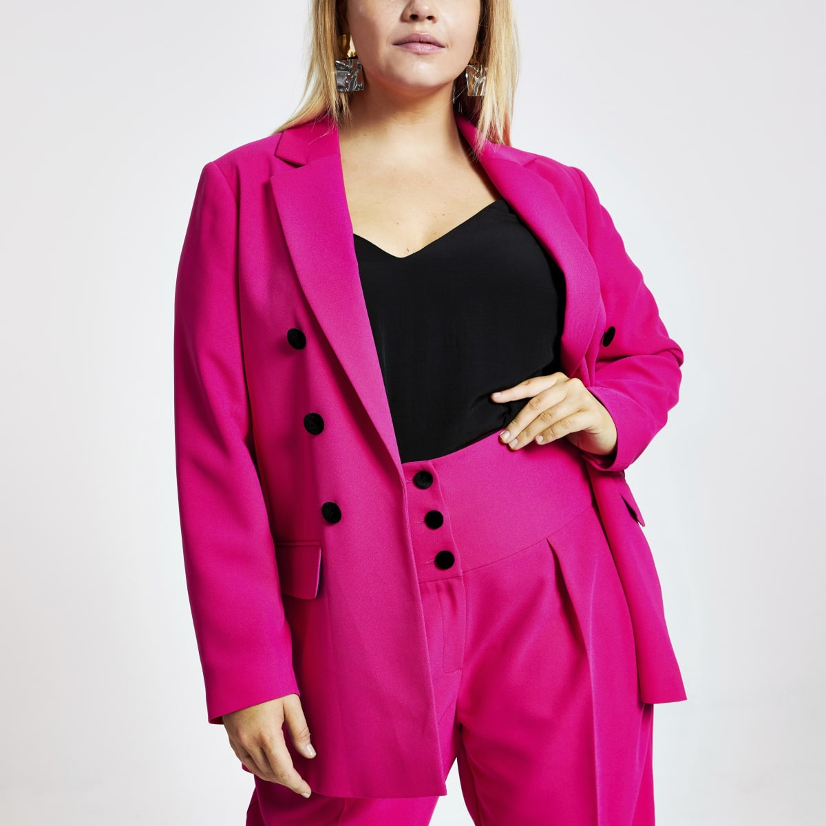Plus pink velvet button front blazer