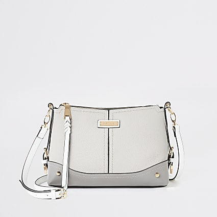Grey buckle side cross body bag