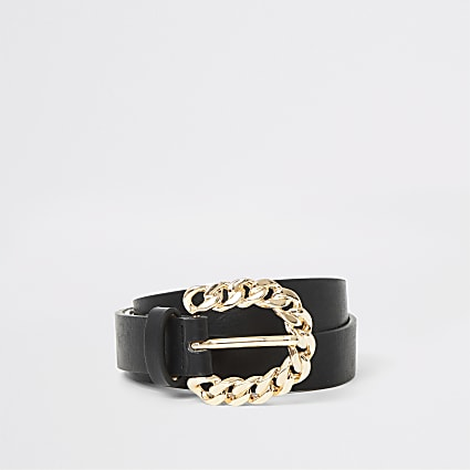 Black gold chain buckle skinny belt