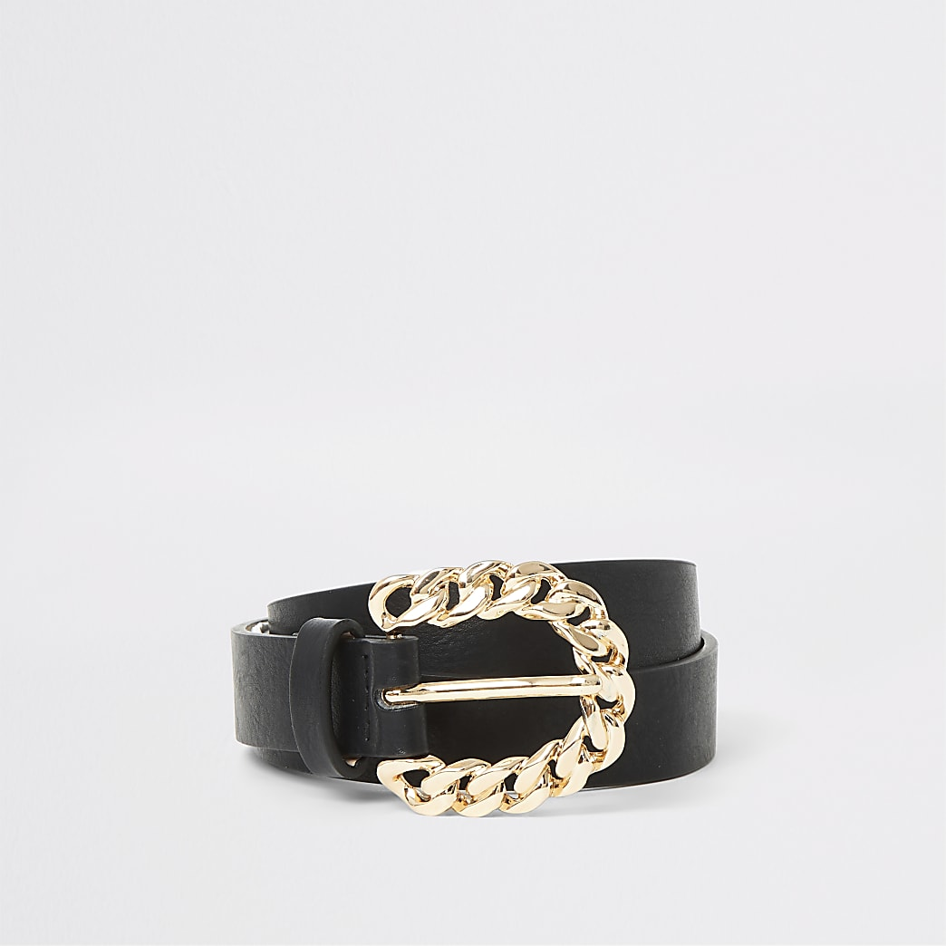 Black gold chain buckle skinny belt