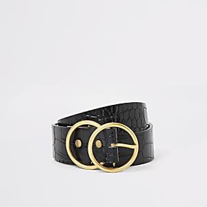 Zwarte riem met krokodillenreliëf en twee gouden ringen