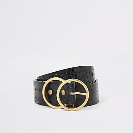 Black croc embossed gold double ring belt