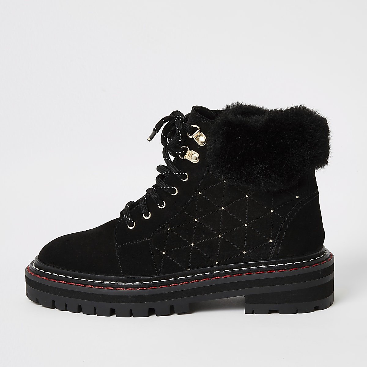 Black suede quilted stud lace-up hiker boots