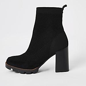 Bottes-chaussettes noires tissage mouche avec semelle épaisse