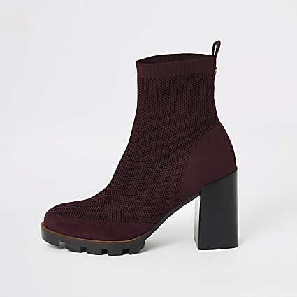 Burgundy fly knit chunky sock boots