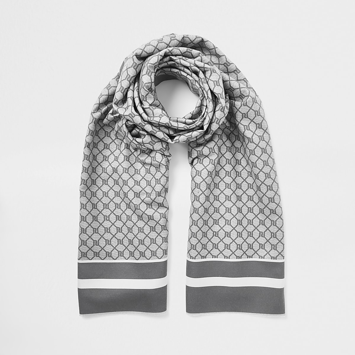 Grijze sjaal met RI-monogram