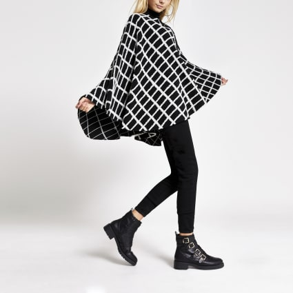 Black monochrome check cape jacket