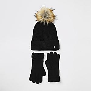 Schwarzes, verdrehtes Strick-Beanie- und Handschuh-Set in einer Box