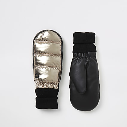 Gold metallic leather padded cuffed mittens