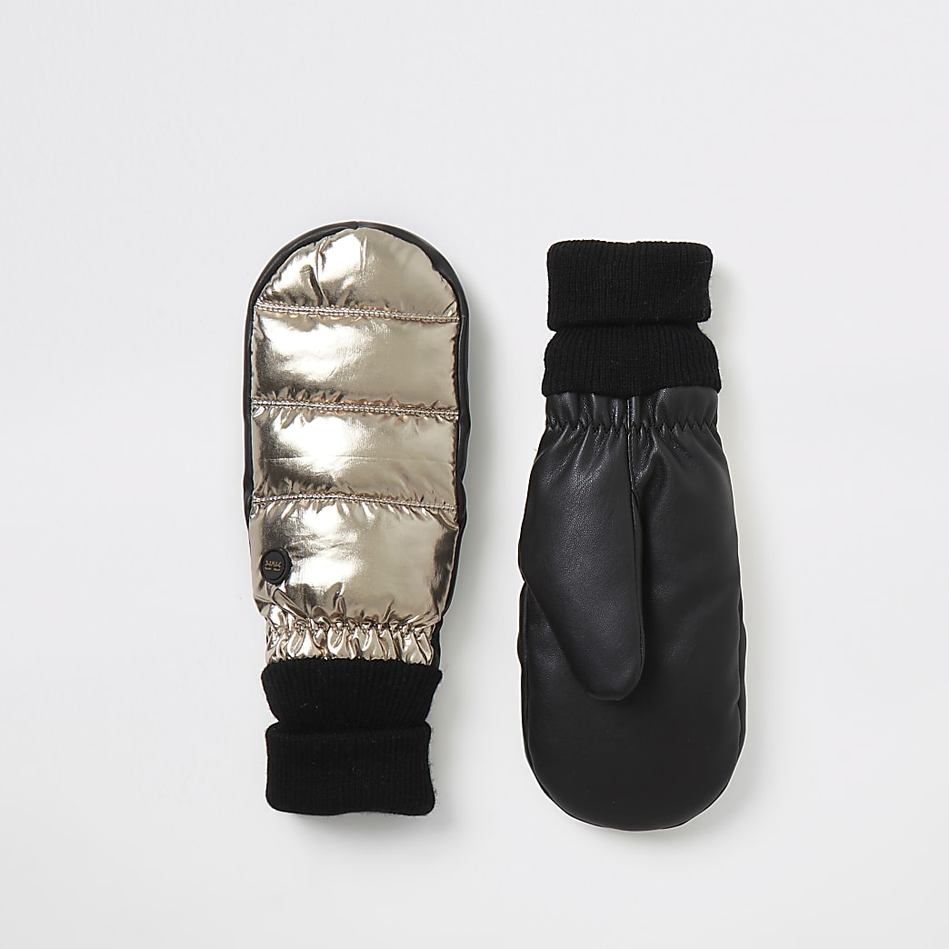 Gold metallic leather padded cuffed mittens