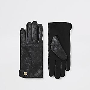 Zwarte leren handschoenen met RI-monogram in reliëf