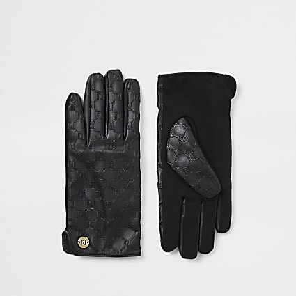 Black leather RI embossed boxed gloves