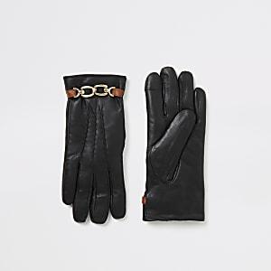 Gants en cuir noir ornés d'une chaîneet boite