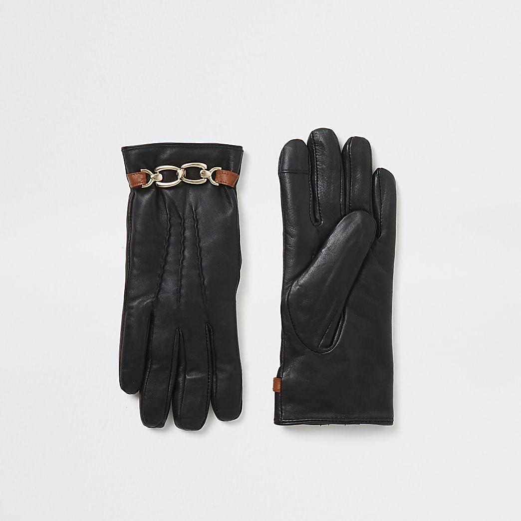 Zwarte leren rechte handschoenen verfraaid met ketting