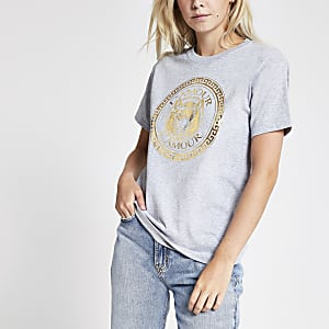 Petite – Graues T-Shirt mit Tigerprint