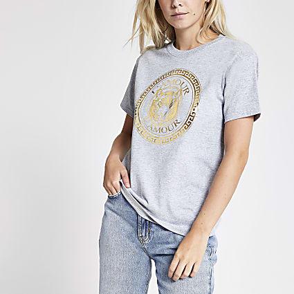 Petite grey tiger chest print T-shirt
