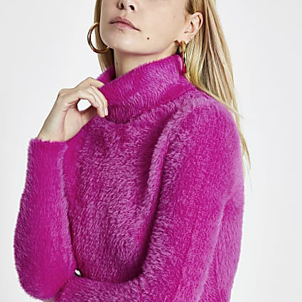Petite pink long sleeve fluffy jumper