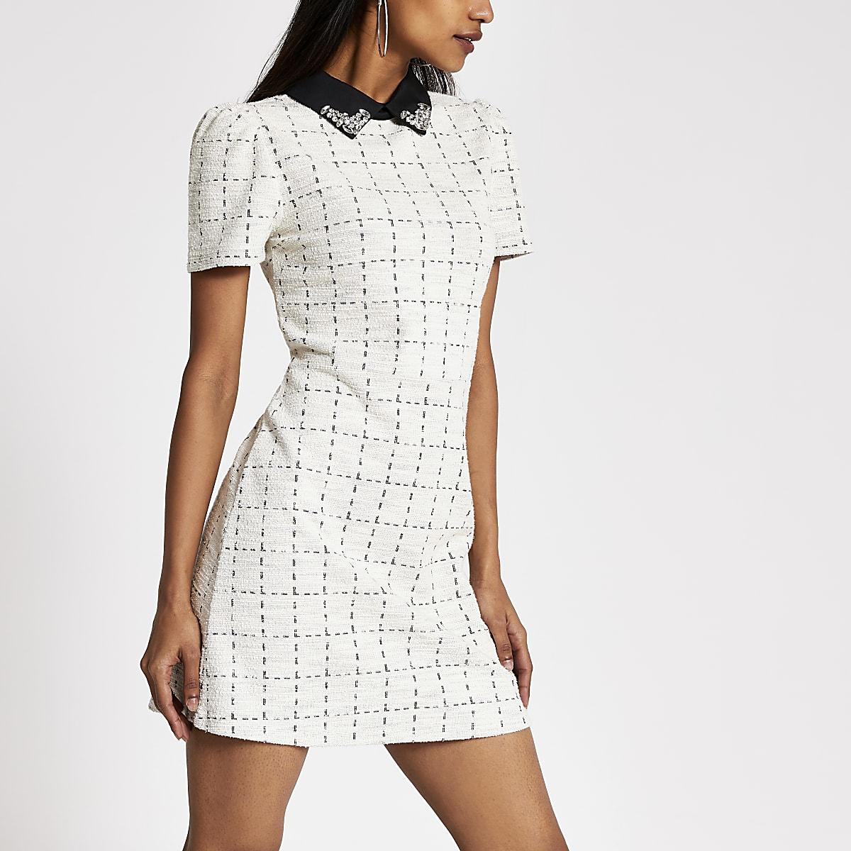 Petite cream boucle embellished dress