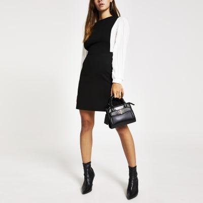 75433630368 Petite black pleated sleeve mini dress