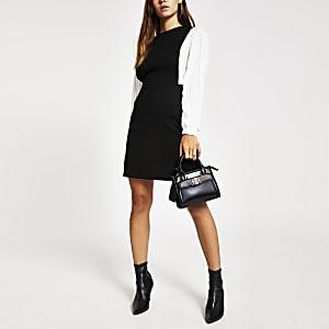 RI Petite - Zwarte mini-jurk met geplooide mouwen