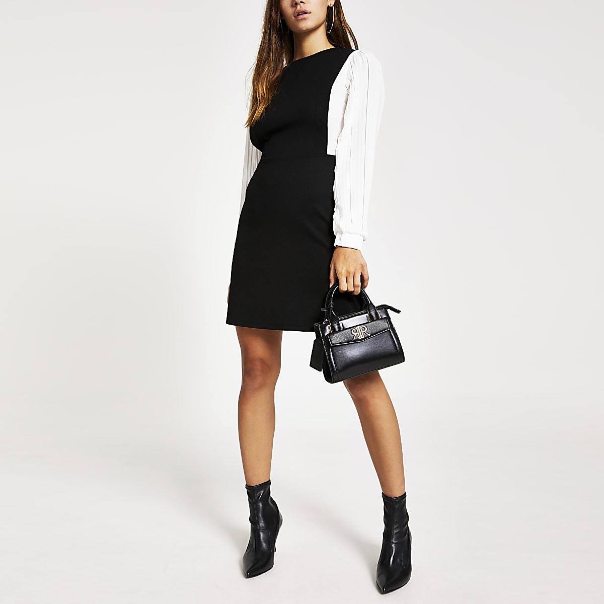 Petite black pleated sleeve mini dress