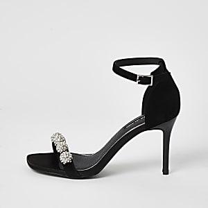 Sandales noires à talons ornées de strass