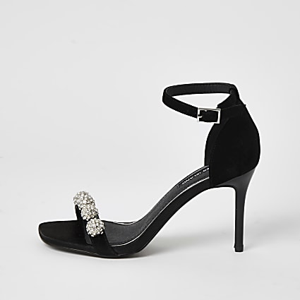 Black diamante embellished heeled sandal