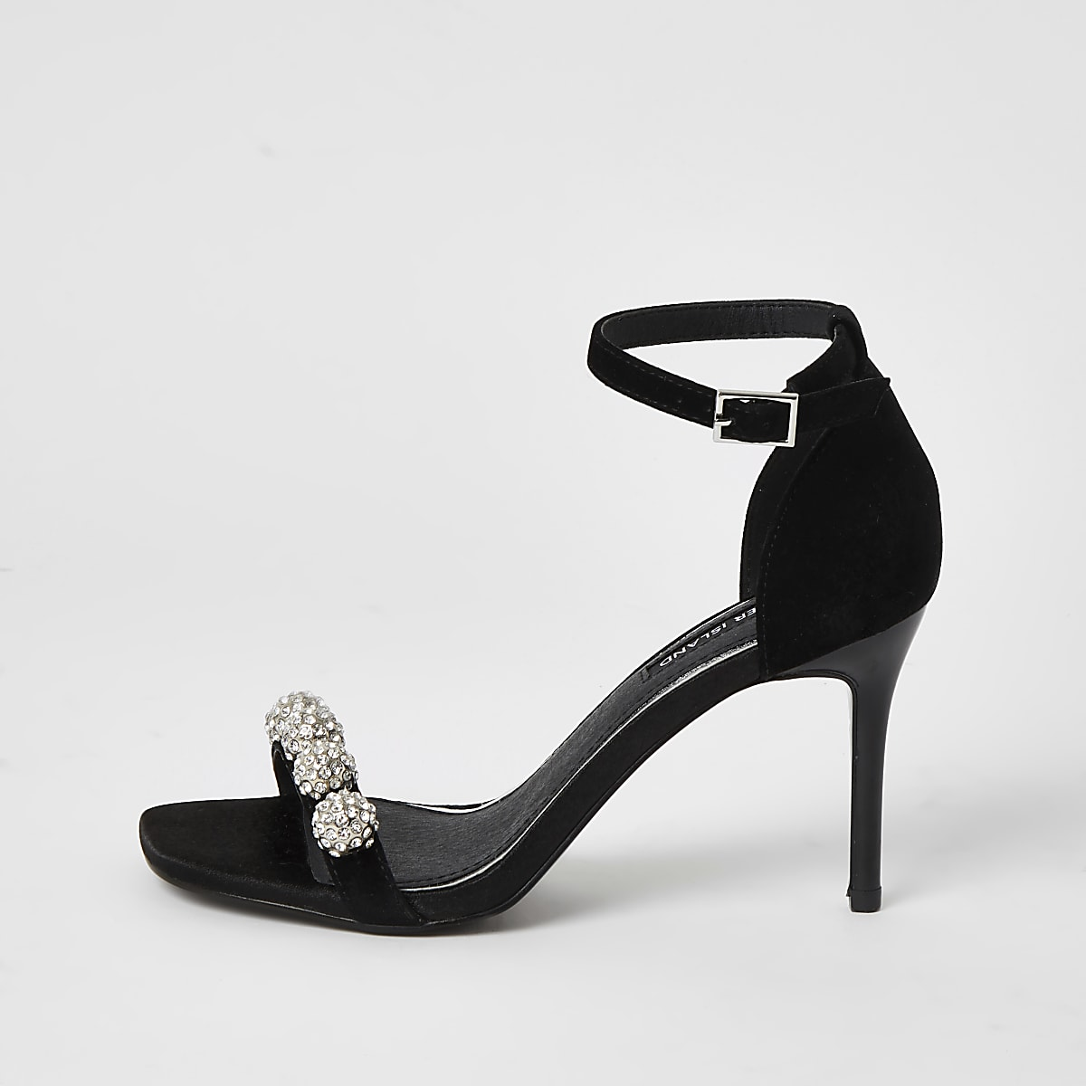 Black diamante embellished heeled sandal