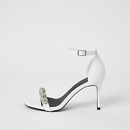 White diamante embellished heeled sandal
