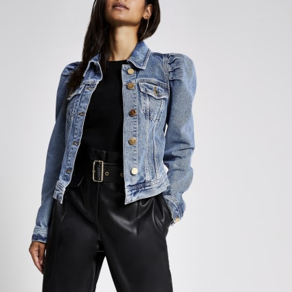 Petite puff sleeve denim jacket