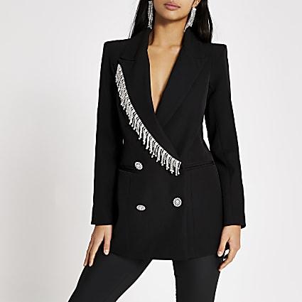 Petite black diamante fringe blazer