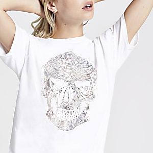 Petite – T-shirt à imprimé tête de mort blanc