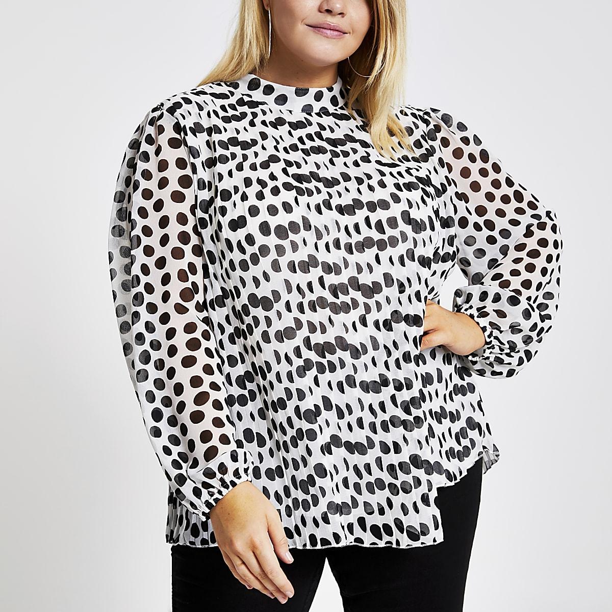 Plus white polka dot plisse tie neck blouse