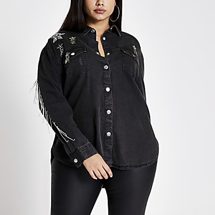 Plus black star embellished denim shirt