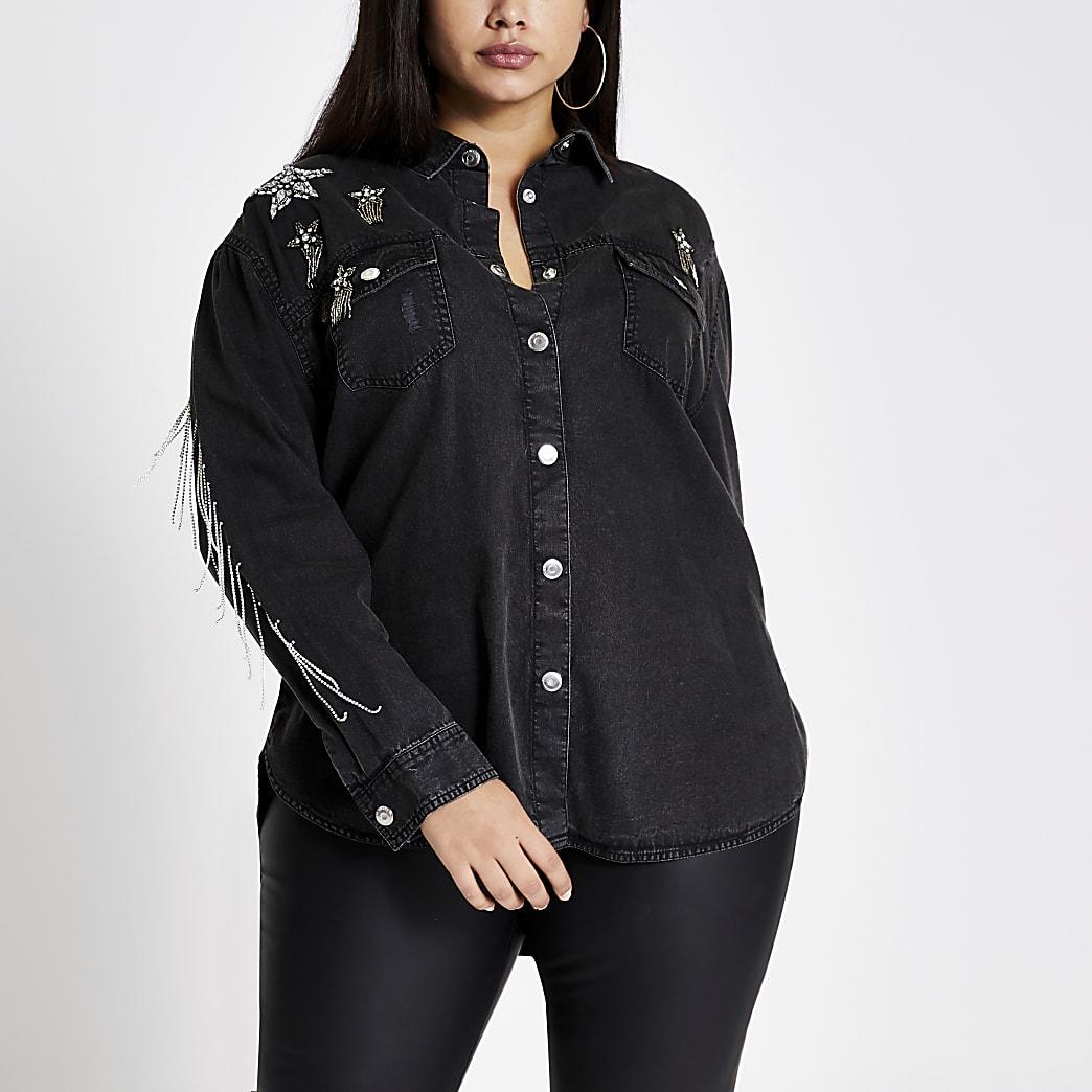 Plus black star embellished denim shirt