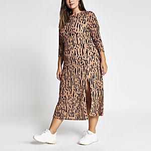 Plus - Robe trapèze mi-longue marron avec imprimés