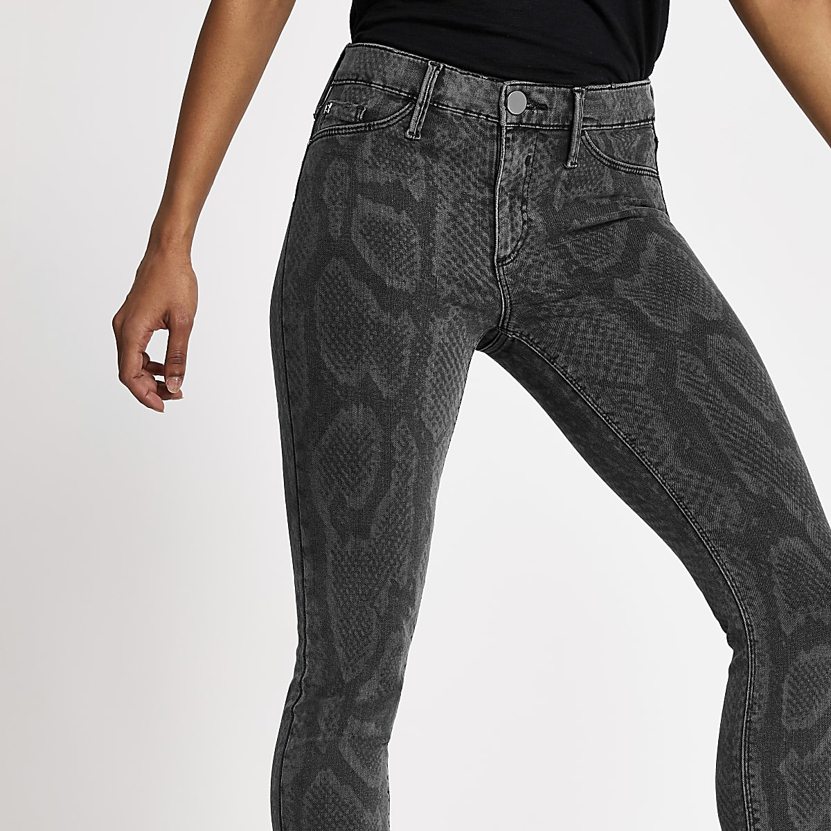 Petite black Molly printed skinny jeggings