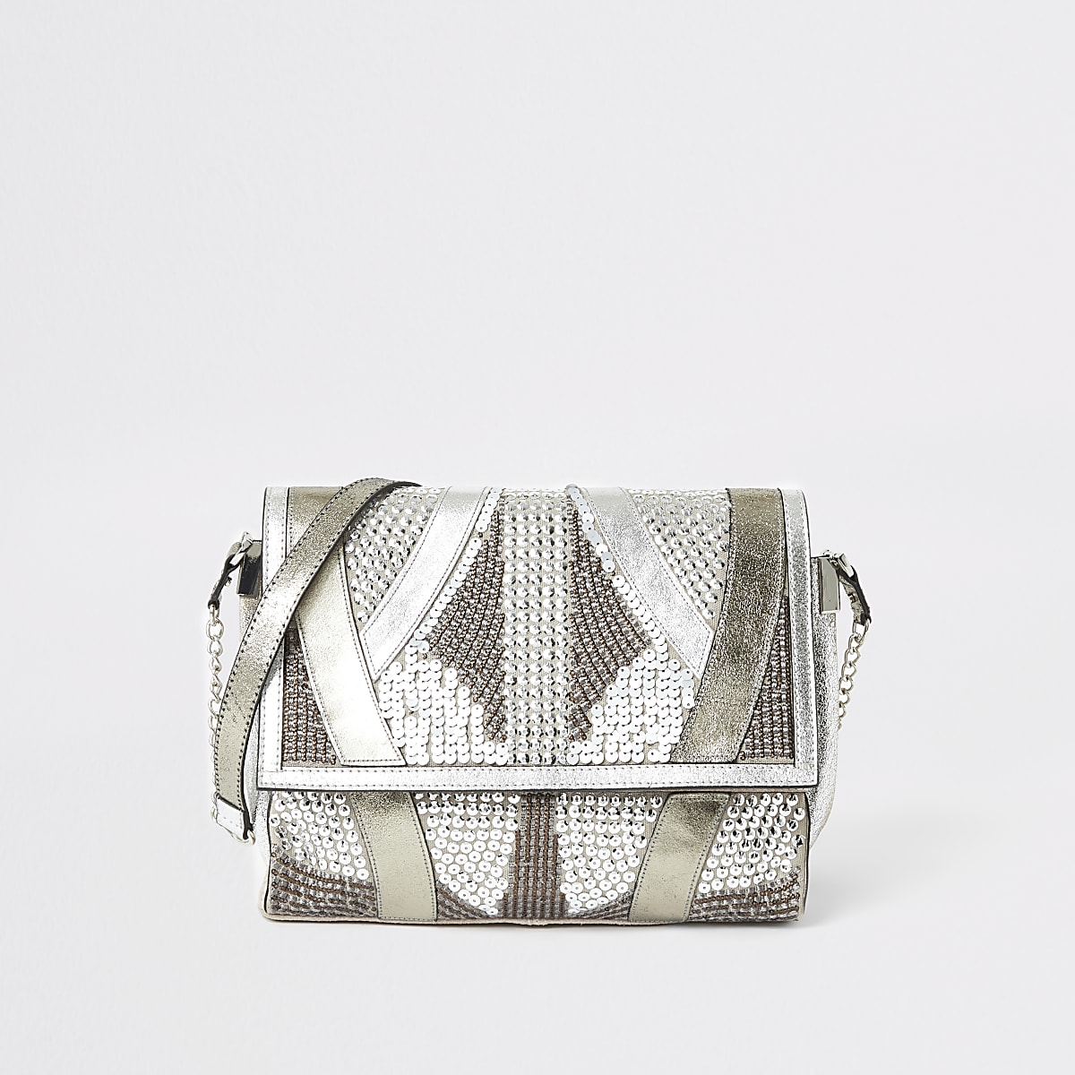 Silver leather embellished fold over bag