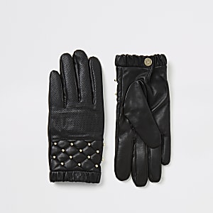 Black leather quilted stud gloves