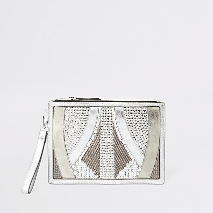 Silver leather embellished clutch bag