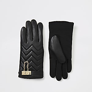 Black leather quilted lock gloves