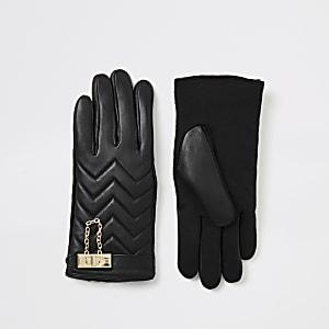 Zwarte gevoerde leren handschoenen met slotje
