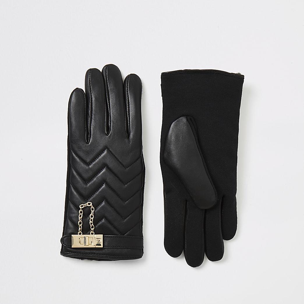Gesteppte Lederhandschuhe in Schwarz mit Schloss-Applikation